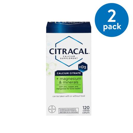 (2 Pack) Citracal Plus Magnesium & D3 Calcium Citrate Caplets, 500mg, 120