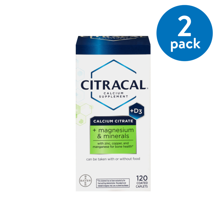 Citracal Plus Magnesium, Calcium Citrate, Vitamin D3, and Magnesium Supplement, 120 Coated Caplets