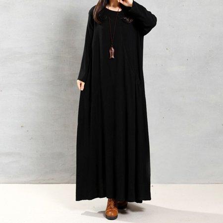 New Fashion Plus Size Dress for Women Cotton Long Sleeve Vintage ...