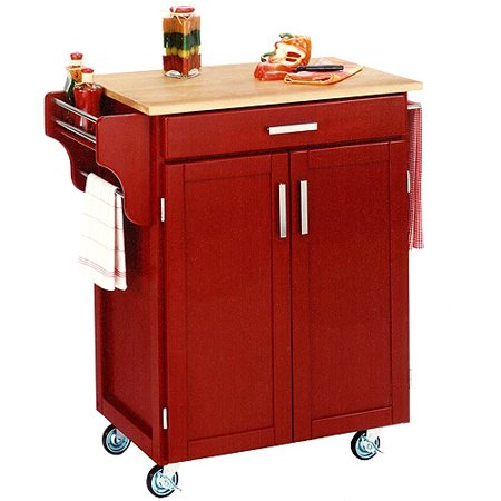 Home Styles Cuisine Kitchen Cart Red With Wood Top