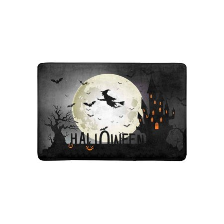 MKHERT Halloween Background of Witch On The Full Moon Doormat Rug Home Decor Floor Mat Bath Mat 23.6x15.7 inch