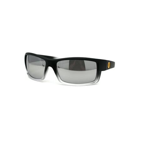Biohazard Retro 90s Squared Rectangular Gangster Sunglasses Matte Black White Silver Mirror