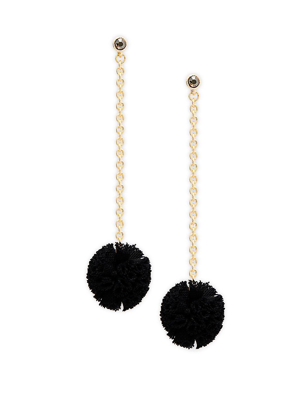 Linear Pom-Pom Earrings