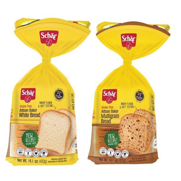 Schar Gluten Free White Bread & Multigrain Bread, 14.4 oz ...