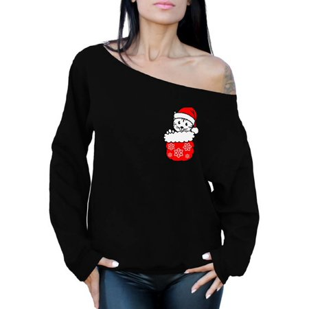 d2857ea567a8d Awkward Styles Pocket Cat Christmas Sweatshirt Off the Shoulder Sweatshirt  Sweater Christmas Cat Christmas Sweater for Women Kitten in Pocket Off the  ...