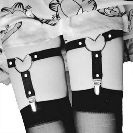 Womens Elastic Leather Leg Harness Garter Belt Thigh Ring Punk Rivet Suspender  Strap 2Pcs - Walmart.com