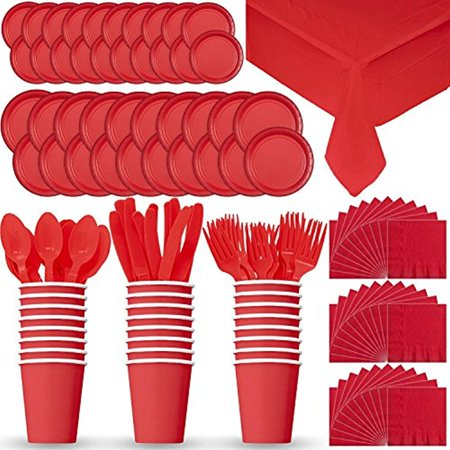 Party Supply Pack for 24 - Red - 2 Size plates, Cups, Napkins , Cutlery (Spoons, Forks, Knives), and - Plates And Napkins