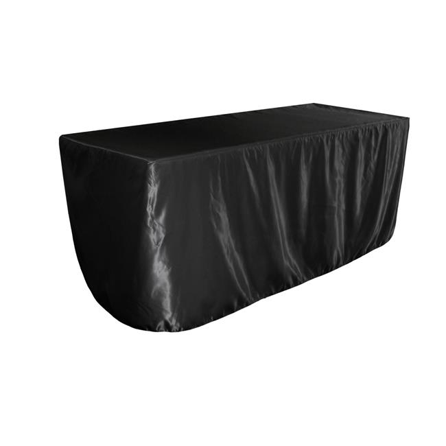 LA Linen TCbridal-fit-96x48x30-BlackB24 Fitted Bridal Satin Tablecloth, Black 96 x 48 x 30... by LA Linen