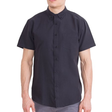 Visive Mens Short Sleeve Casual Solid Oxford Collared Button Down Up Shirts Black (Collar Mens Black Shirts)