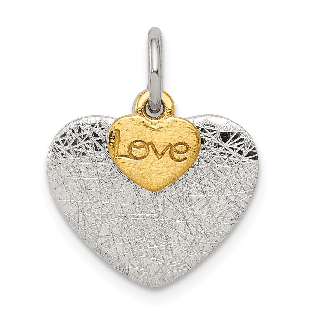 Sterling Silver Gold-plated Textured Love Charm Pendant