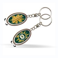 Oakland Athletics Official MLB 2 inch  Metal Spinner Key Chain Keychain by Rico Industries