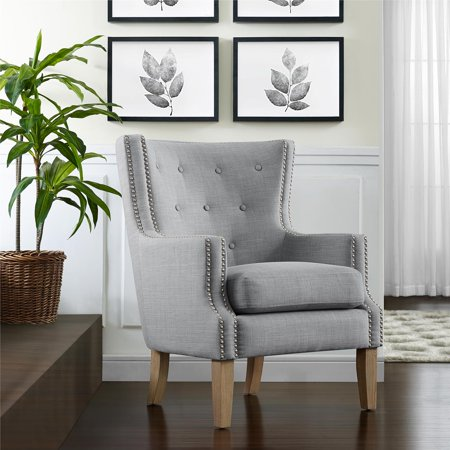 Better Homes & Gardens Hardy Tufted Accent Chair, Gray