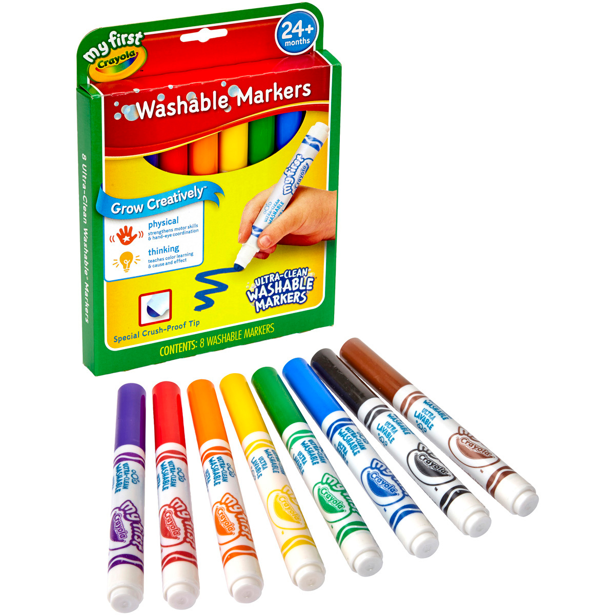 Crayola 8 Count My First Ultra-Clean Washable Markers-Bold Colors With Rounded Broad Tips
