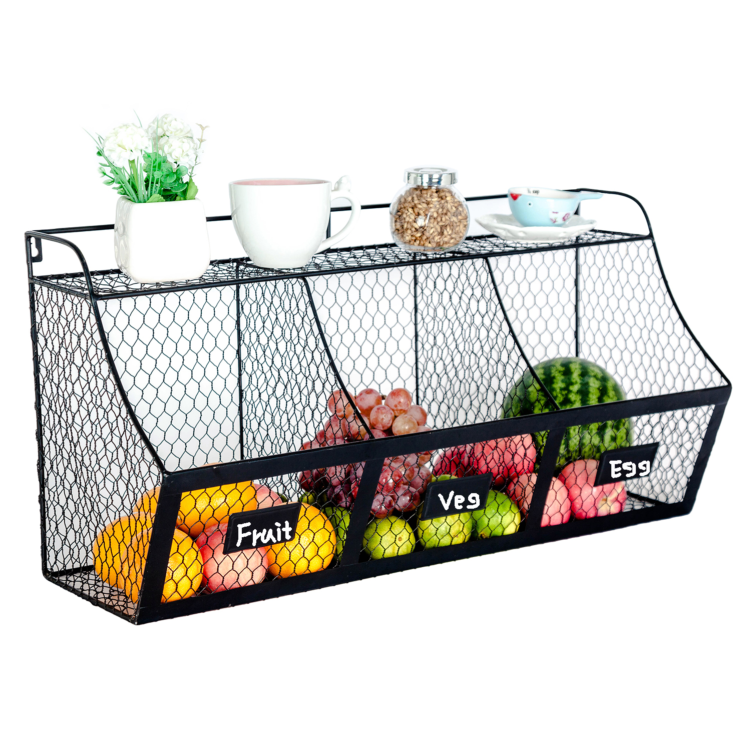 3 Compartment Kitchen Basket Large Wall Mount Metal Storage ...
