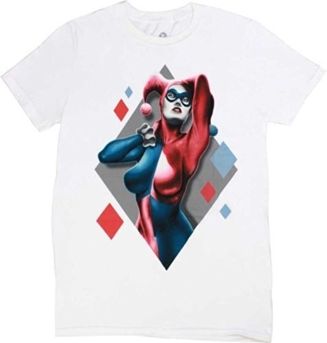 Batman Harley Quinn Diamonds Men's White T-Shirt, Large