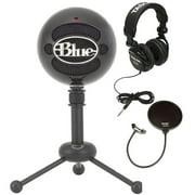 Blue Microphones Snowball Plug & Play USB Microphone Black Bundle with Pop Filter and Studio Headphones