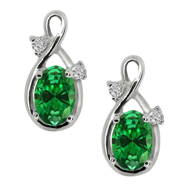 1.41 Ct Oval Green Simulated Emerald 18K White Gold Earrings