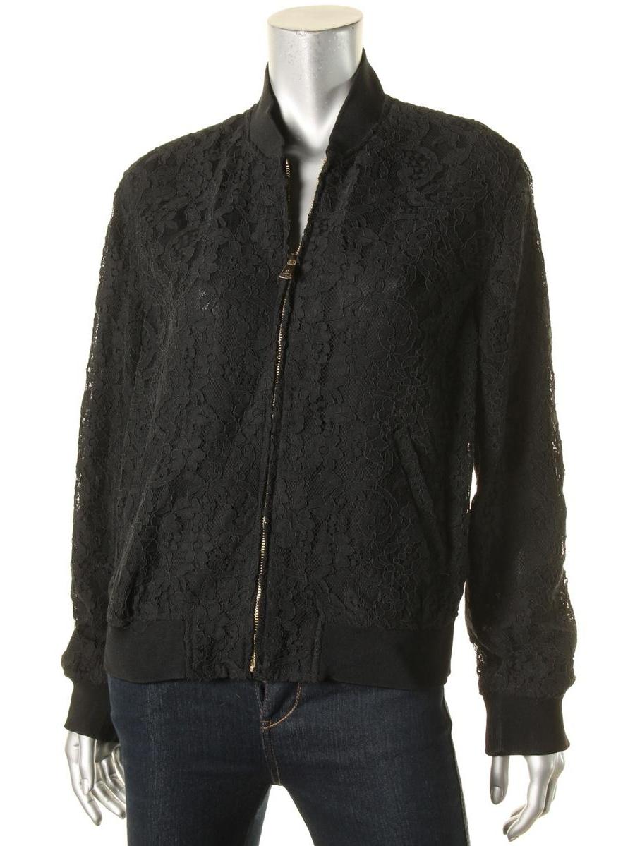 Lauren Ralph Lauren Womens Mesh Floral Bomber Jacket