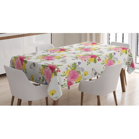 Shabby Chic Decor Tablecloth Peonies Roses Sweet Peas Bell Colorful Bouquet Erflies Botany Garden