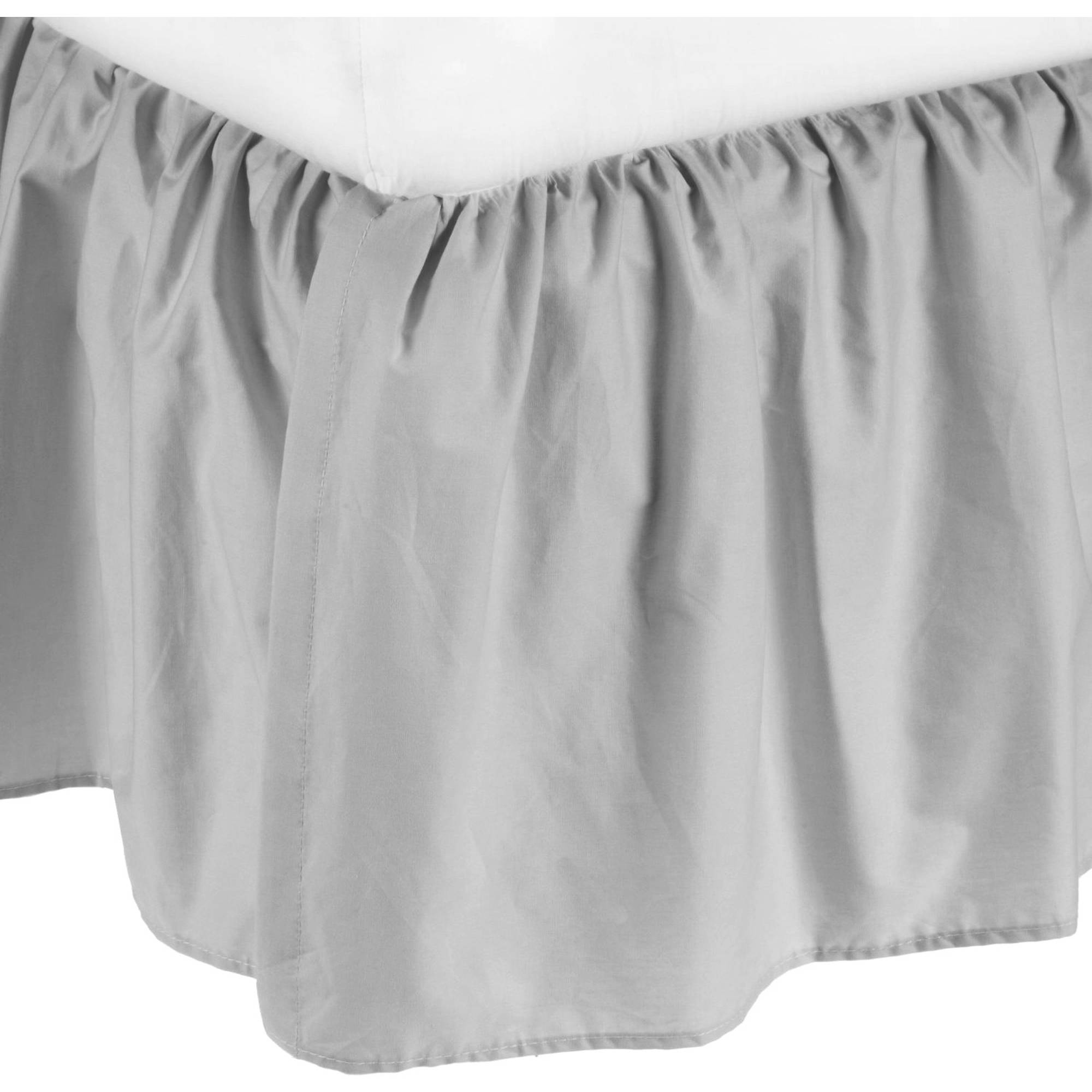 TL Care Cotton Percale Mini Crib Bed Skirt, Grey