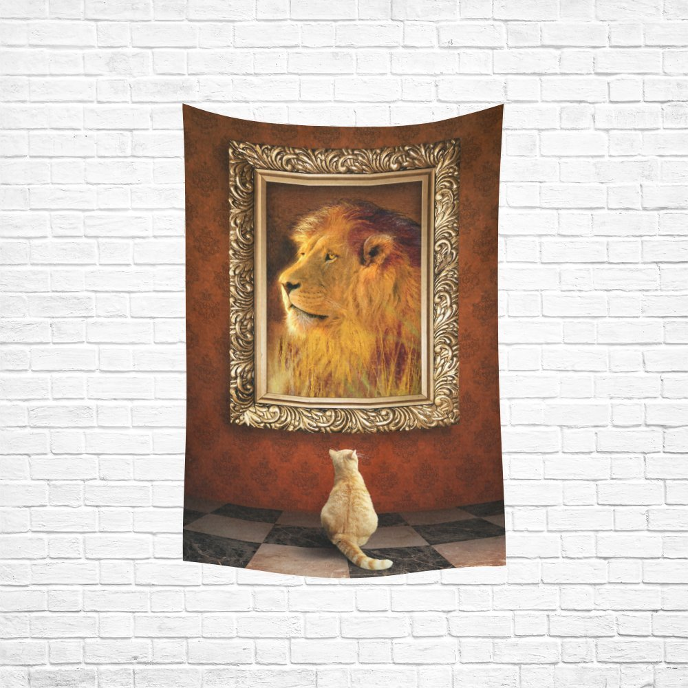 YKCG Home Decoration Cat Looking at a Portrait of a Lion Wall Hanging Tapestry 60 x 40 Inches
