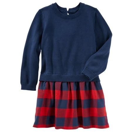 Autumn Flannel Autumn Flannel - OshKosh B'gosh Big Girls' Plaid Flannel Sweater Dress, 10 Kids