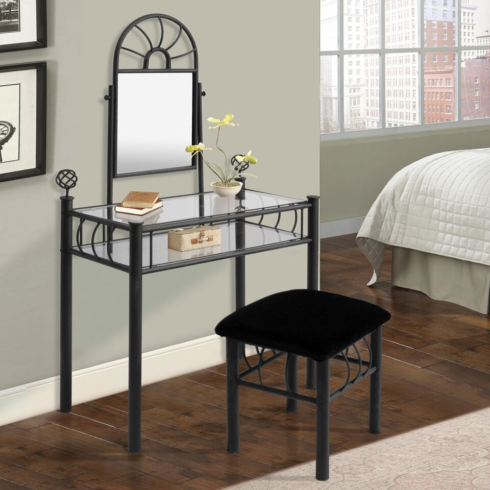 Home Source Black Vanity & Upholstered Bench