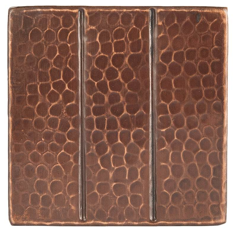 Premier Copper Products 4'' x 4'' Hammered Copper Tile in Oil Rubbed Bronze
