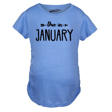 Maternity Due In January Funny T shirts Pregnant Shirts Announce Pregnancy Month Shirt - Funny Pregnant T-shirt