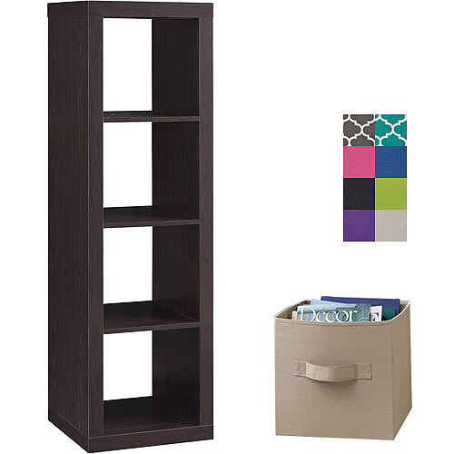 Better Homes and Gardens 4-Cube Organizer with 4 Collapsible Fabric Storage Cubes, Mix and Match Colors