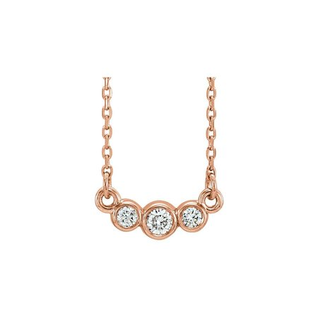 "Bella Grace Jewelry Collection 14K Rose Graduated Bezel Set 1/8 CTW Diamond 16-18"" Necklace"