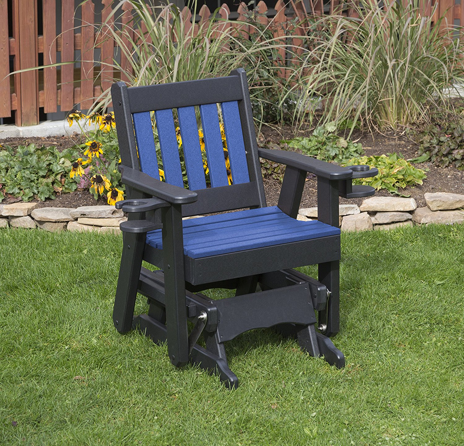 Outdoor Garden Lawn Exterior Blue Finish 2 Ft Poly Lumber Mission Everlasting Amish Crafted Traditional Glider With Cupholder Arms