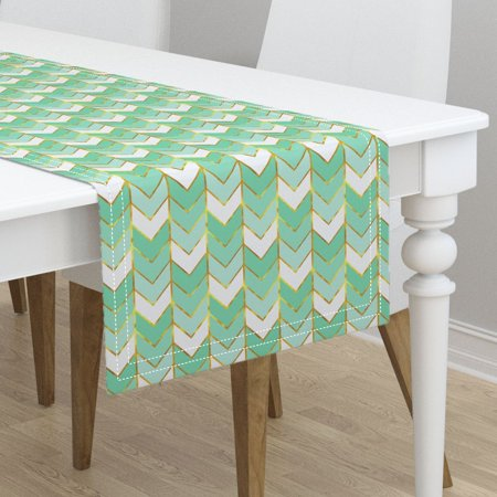 table runner herringbone arrows mint chevron ombre gold gilded cotton sateen. Black Bedroom Furniture Sets. Home Design Ideas