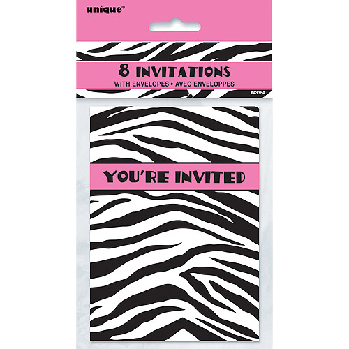 Zebra Print Invitations, 8pk