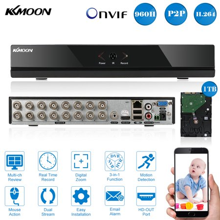 Kkmoon 16 Channel Full 960H D1 Dvr Hvr Nvr Hdmi P2p Cloud Network Onvif Digital Video Recorder With1tb Seagate Hard Disk