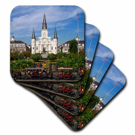 3dRose St. Louis Cathedral, New Orleans, Louisiana - US19 DFR0091 - David R. Frazier, Soft Coasters, set of 8 - New Orleans Coasters