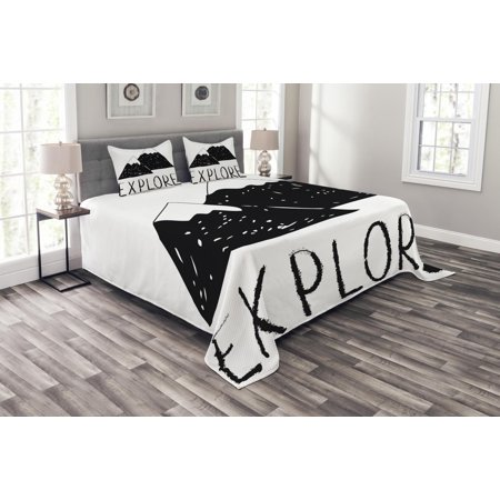 Adventure Bedspread Set, Explore Lettering with Wild Forest Hand Drawn Simple Mountains Nature Theme, Decorative Quilted Coverlet Set with Pillow Shams Included, Black White, by Ambesonne (Mountain Theme Quilt)