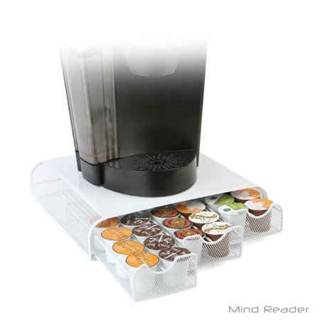 Mind Reader Triple Drawer Metal Mesh K Cup  Dolce Gusto  Cbtl  Verismo Single Serve Coffee K Cup Pod Storage Drawer  White