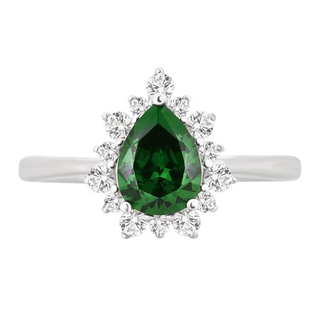 2.00 Carat T.W. Created Green Emerald and White Sapphire Sterling Silver Engagement Ring - Glow In The Dark Engagement Ring