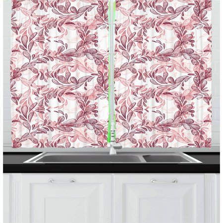 Maroon And White (Floral Curtains 2 Panels Set, Romantic Nature Scroll Style Pattern with Hand Drawn Leaves and Petals, Window Drapes for Living Room Bedroom, 55W X 39L Inches, Maroon Coral and White,)