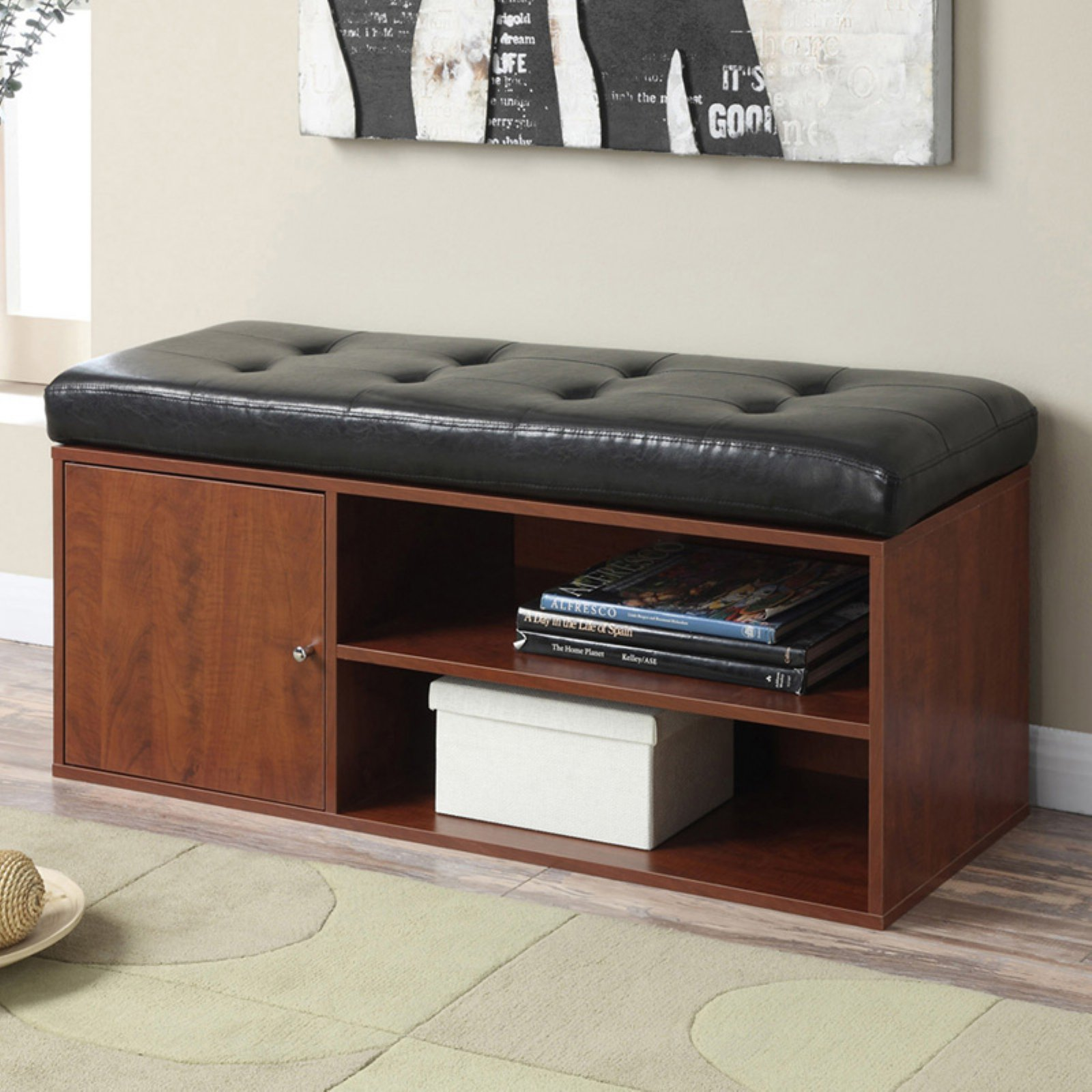 Convenience Concepts Designs4Comfort Liberty Storage Bench, Black/Cherry