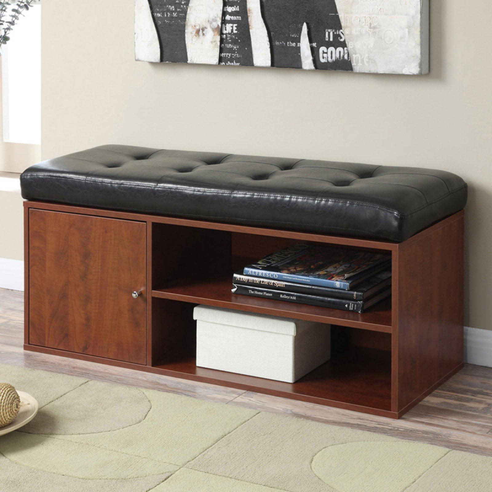 Convenience Concepts Designs4Comfort Liberty Storage Bench, Black/Cherry