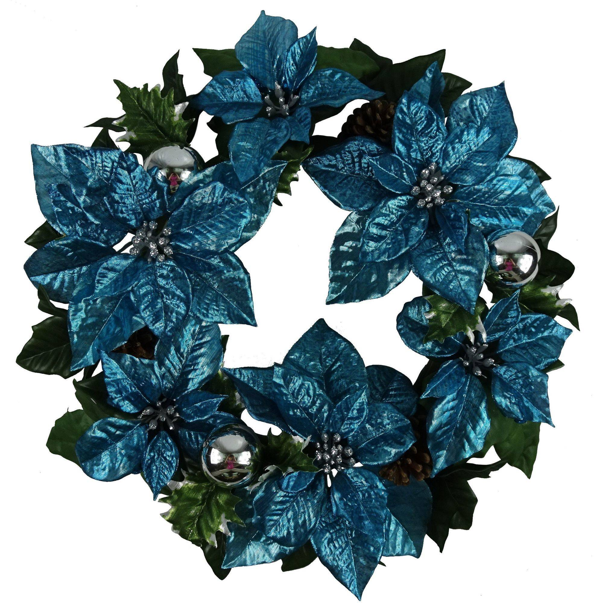"Holiday Time 18"" Blue Poinsettia Wreath"