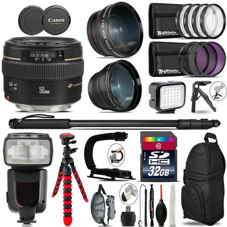 Canon 50Mm F 1 4 Usm   Pro Flash   Led Light   Tripod   32Gb Accessory Bundle