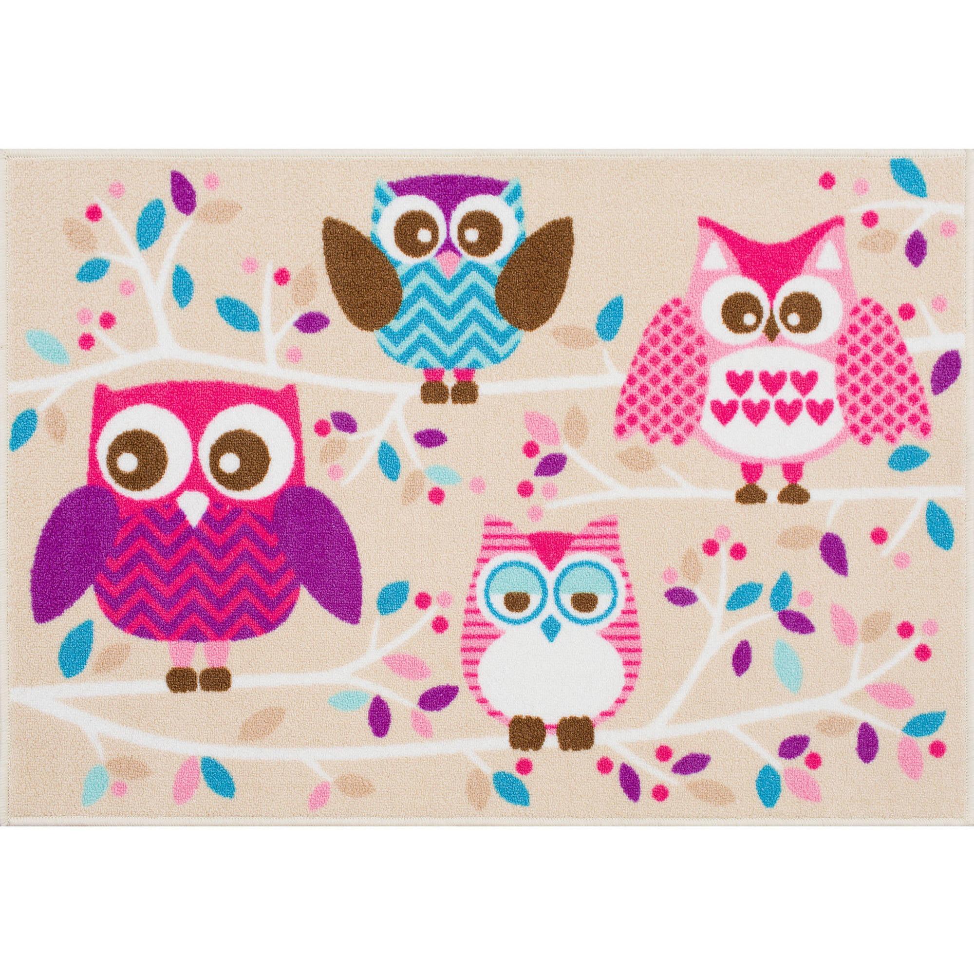 Mainstays Kids Owl Nylon Rug Multi Color 2 7 Quot X 3 9