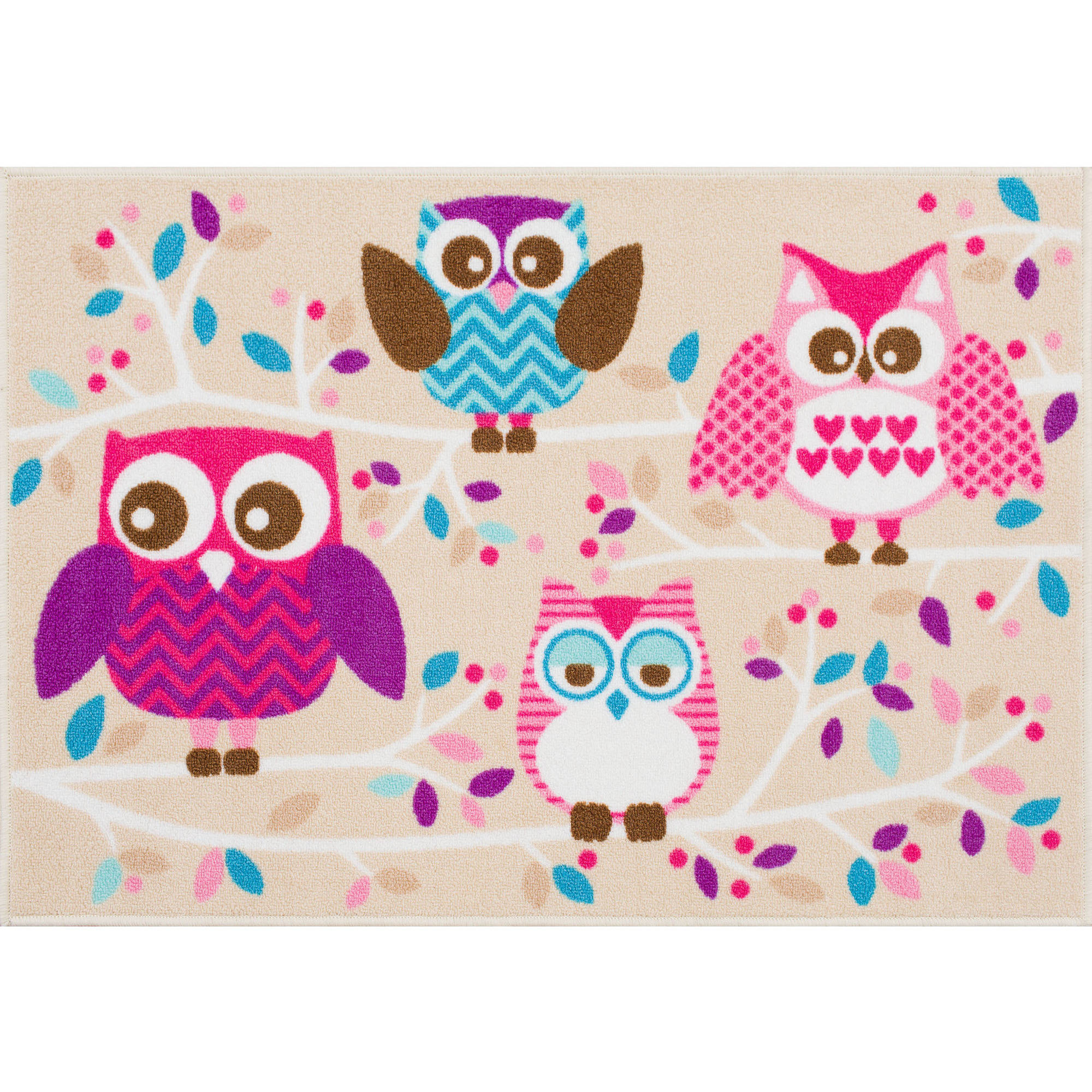 "Mainstays Kids Owl Nylon Rug, Multi-Color, 2'7"" x 3'9"""
