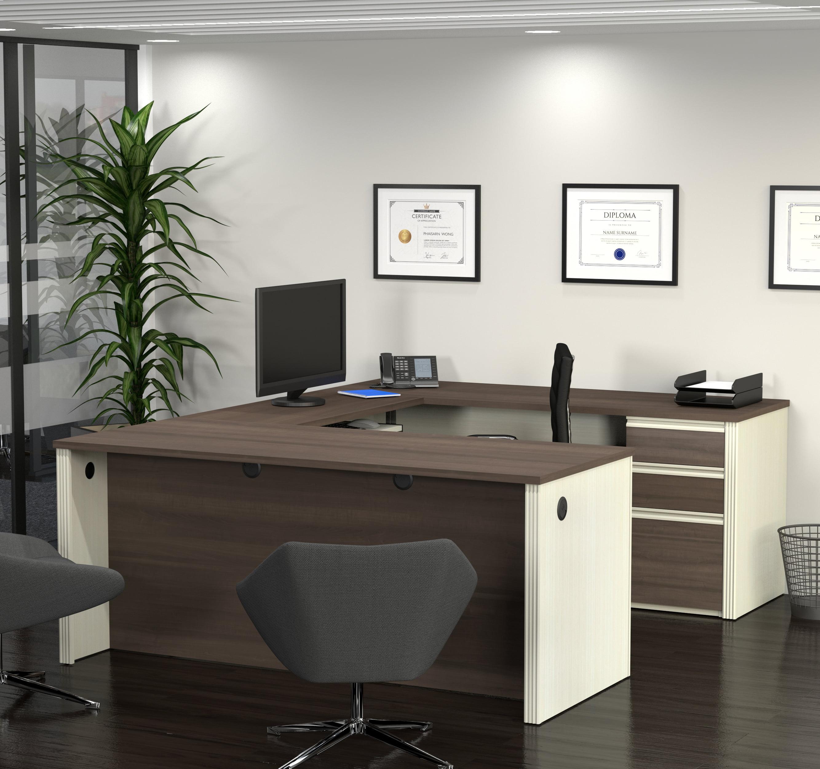 Bestar Prestige + U-Shaped Workstation with 1 Pedestal, White Chocolate and Antigua