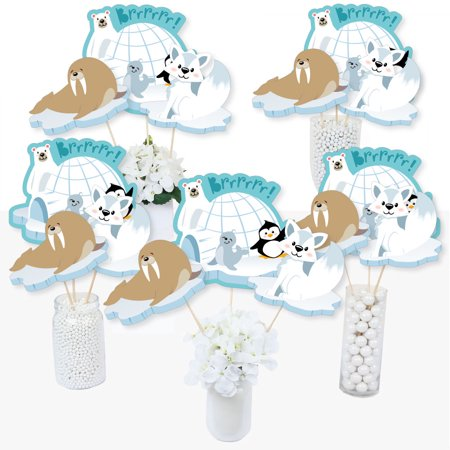 Arctic Polar Animals - Winter Baby Shower or Birthday Party Centerpiece Sticks - Table Toppers - Set of 15 ()