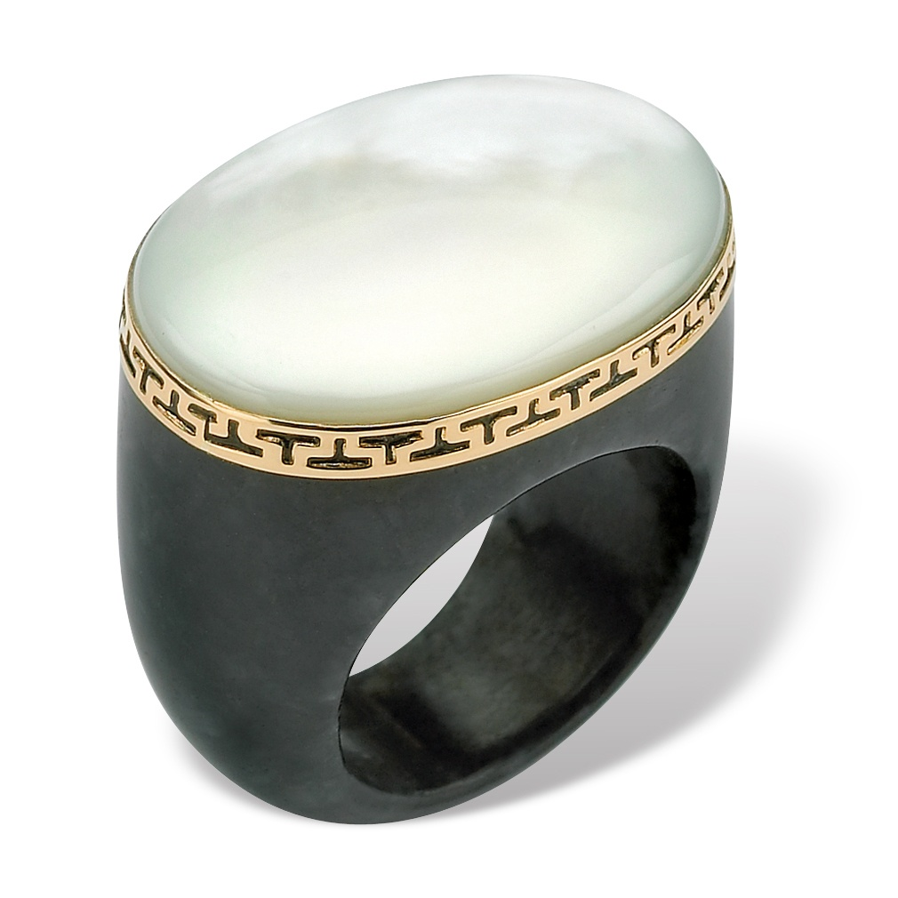 Oval-Shaped Mother-Of-Pearl Black Jade Greek Key Ring in 14k Gold by PalmBeach Jewelry