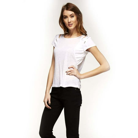 - Black Collection WhiteShort Sleeve Thin Knit Top With Zipper Shoulder Accent, Large